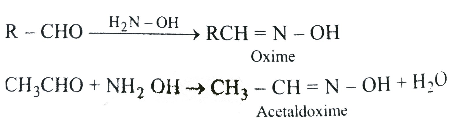 Reaction of aldehydes and ketones with hydroxylamine gives oximes