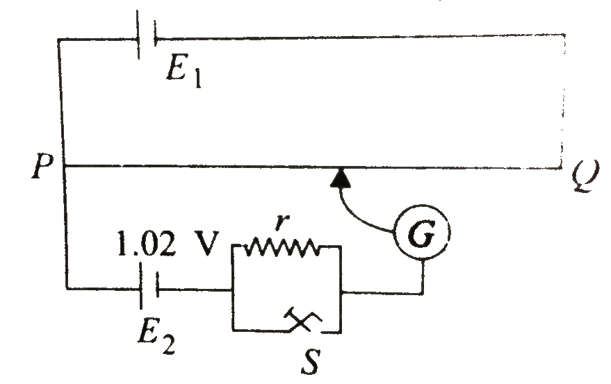 potentiometer wire pq of 1m length is connected to a standard cell e1   another cell e2 of emf 1 02v is connected with a resistance r and a