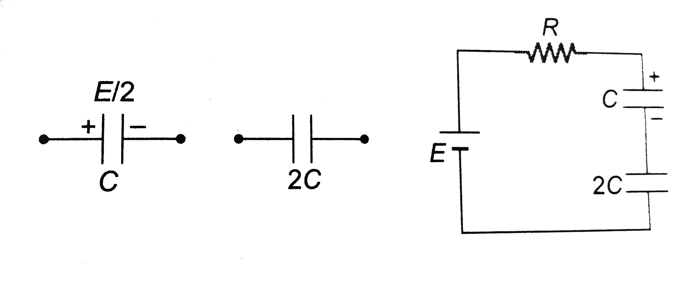 A capacitor of capacitance C has potential difference E/2