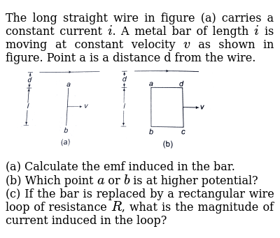 The Long Straight Wire In Figure A Carries A Constant Current I
