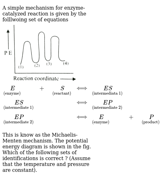 A Simple Mechanism For Enzyme Catalyzed Reaction Is Given By The Folllwoing Set Of Equations Undersetenzymeeundersetreactantsharrundersetintermediata