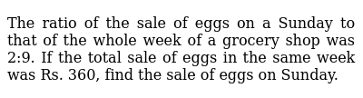 The ratio of the sale of eggs on a Sunday to   that of the whole week of a grocery shop w