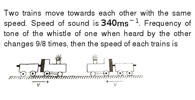 Two trains move towards each other with the same speed  Speed of sound is  `340ms^(-1)`  Frequency of tone of the whistle of one when heard by the  other changes 9/8 times, then the speed of each trains