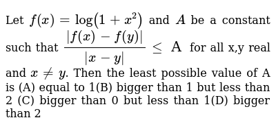 Let `f(x) = log(1+x^2)` and `A` be a constant such that `|f(x)-f(y)|/|x-y| <= А` for all x