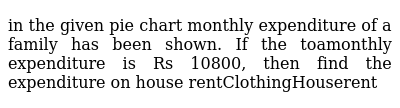 in the given pie chart monthly expenditure of a family has been shown. If the toamonthly