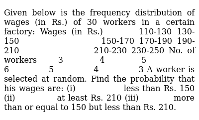 Given below is the frequency distribution of wages   (in Rs.) of 30 workers in a certain