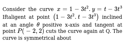 Consider the curve `x=1 - 3t^2.y=t-3t^3` Iftaligent at point `(1 - 3t^2.t-3t^3)` inclined