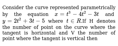 Consider the curve represented parametrically by the equation `x = t^3-4t^2-3t` and `y = 2