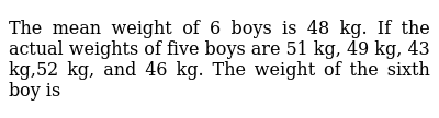 The mean weight of 6 boys is 48 kg. If the actual weights of five boys are 51 kg, 49 kg, 4