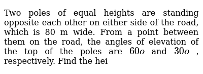 NCERT Class 10 SOME APPLICATIONS OF TRIGONOMETRY | Exercise 01 | Question No. 10