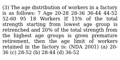 (3) The age distribution of workers in a factory is as follows: 7 Age 20-28 28-36 36-44 44