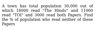 """A town has total population 30,000 out of which 18000 read """"The Hindu"""" and 11000 read """"TOI"""