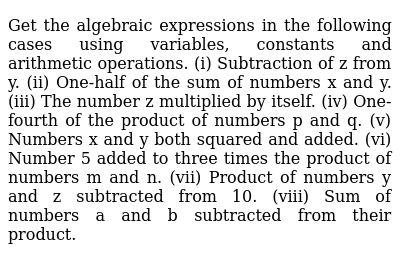 NCERT Class 7 ALGEBRAIC EXPRESSIONS | Exercise 01 | Question No. 01
