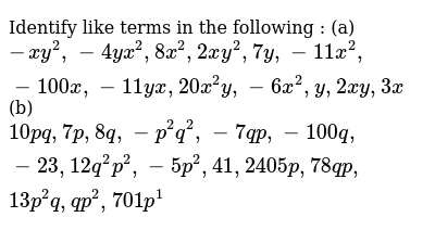 NCERT Class 7 ALGEBRAIC EXPRESSIONS | Exercise 01 | Question No. 07