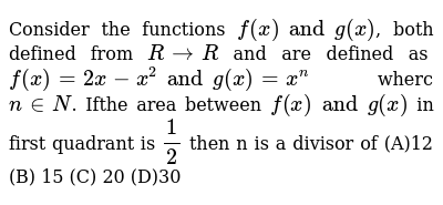 Consider the functions `f (x) and g (x)`, both defined from `R-> R` and are defined as `f(