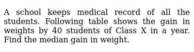 A school keeps medical record of all the students. Following table shows the gain in weigh