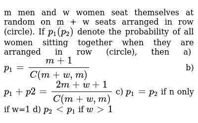 m men and w women seat themselves at random on m + w seats arranged in row  (circle)  If `p_1 (p_2)` denote the probability of all women sitting  together when they are arranged in row (circle), then a)